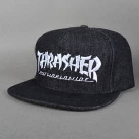 X Thrasher Asia Tour Snapback Cap - Black Denim
