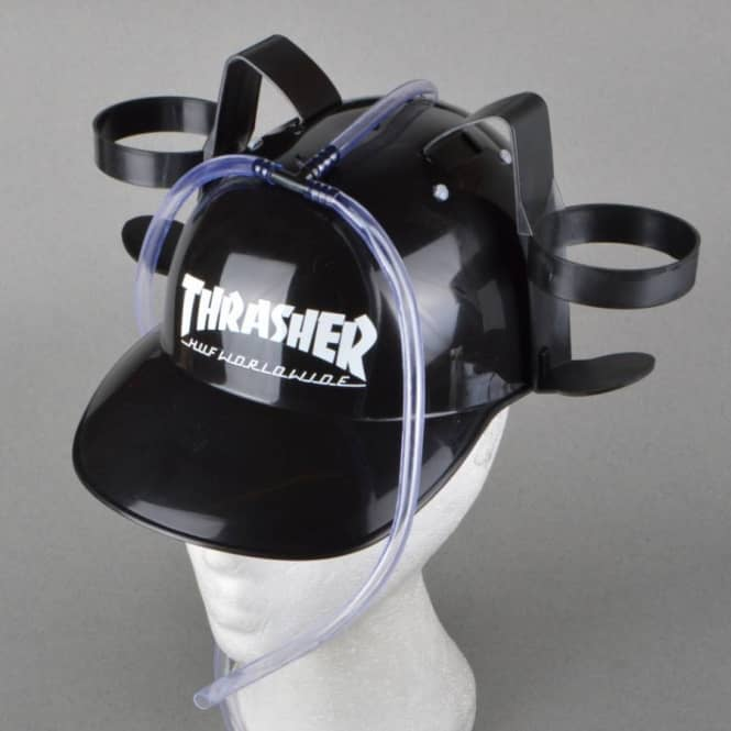 b7c869739a5 HUF x Thrasher Beer Helmet - Black - ACCESSORIES from Native Skate ...