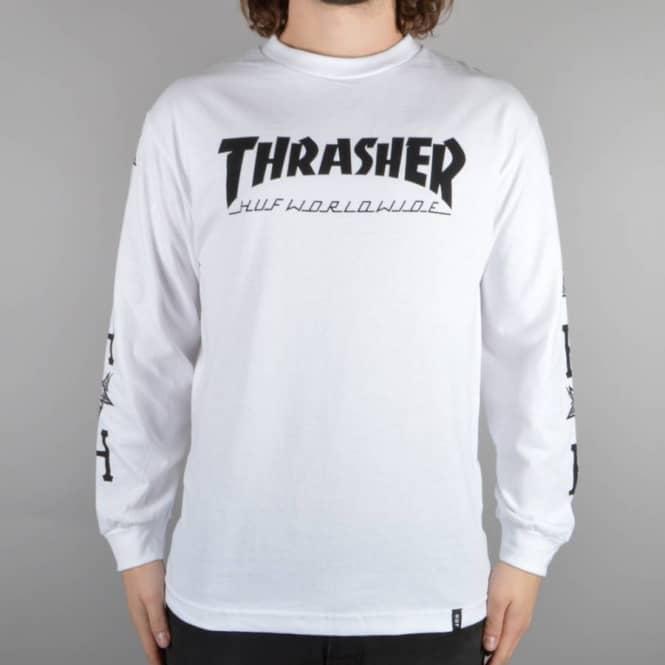 d2afb7a0f46 HUF x Thrasher Collab. Logo Long Sleeve T-Shirt - White - SKATE ...