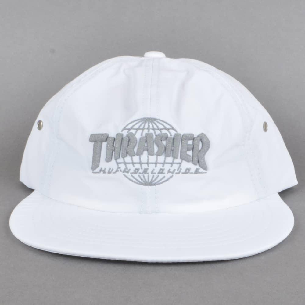 36339d359b6ad HUF x Thrasher TDS 6 Panel Strapback Cap - White - SKATE CLOTHING ...