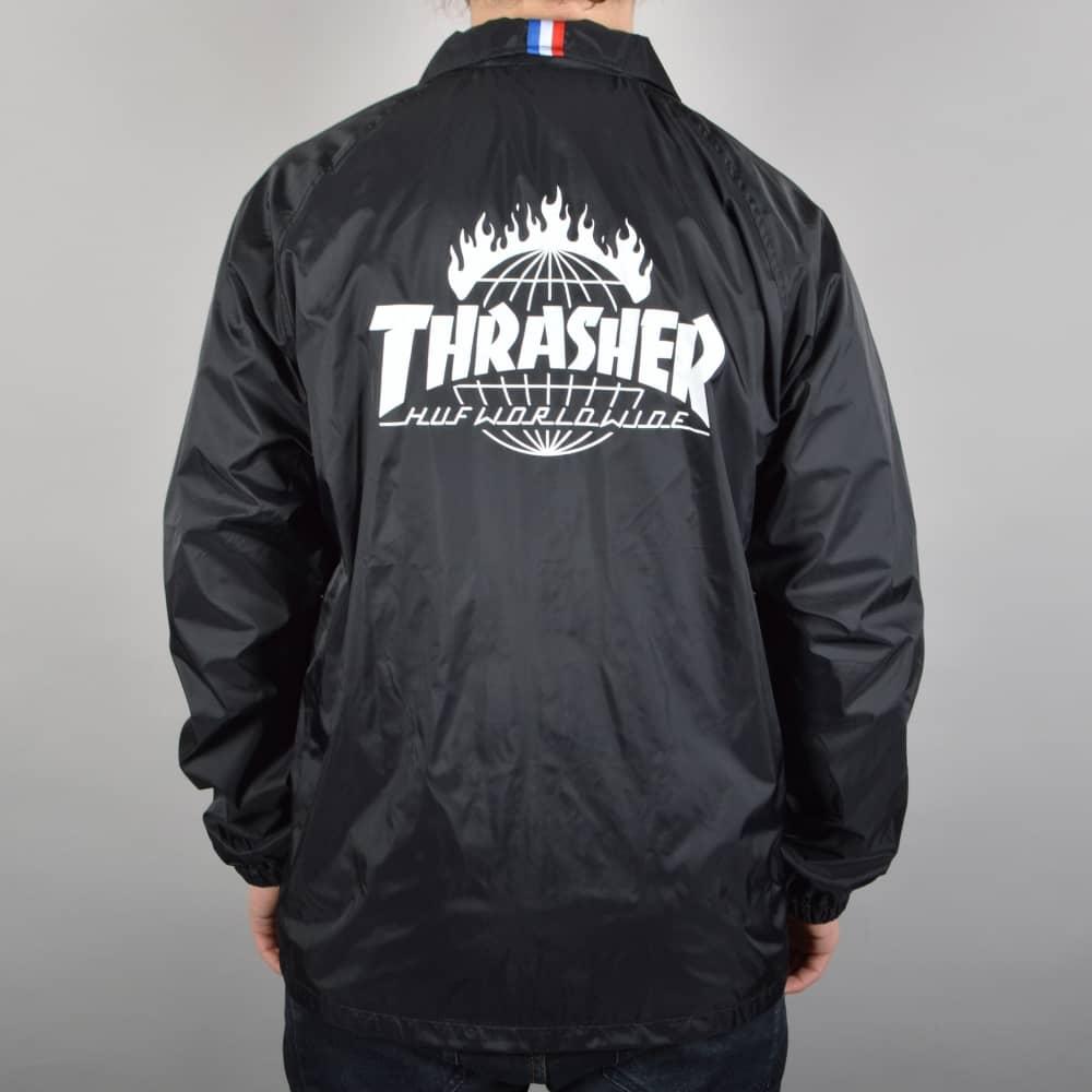312a2c2dcd6 HUF x Thrasher TDS Coach s Jacket - Black - SKATE CLOTHING from ...
