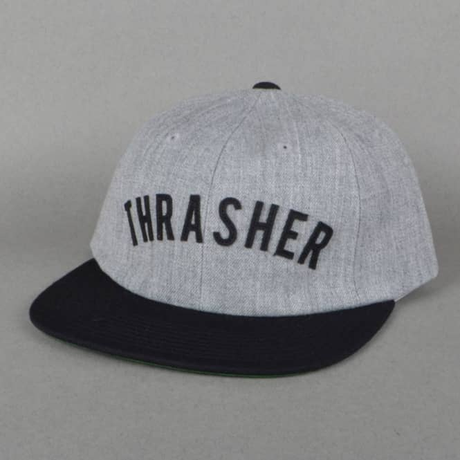 HUF x Thrasher Vintage Baseball 6 Panel Strapback Cap - Grey Heather