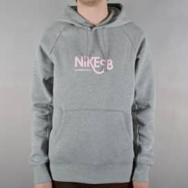 Nike SB Icon Pullover Hoodie - Grey Heather/Prism Pink