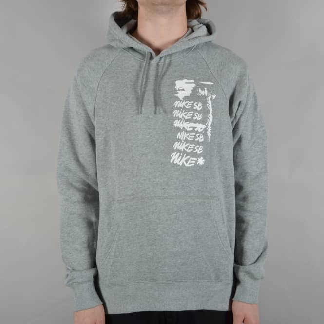 Nike SB Icon Scribble Pullover Hoodie - Dark Grey Heather/White