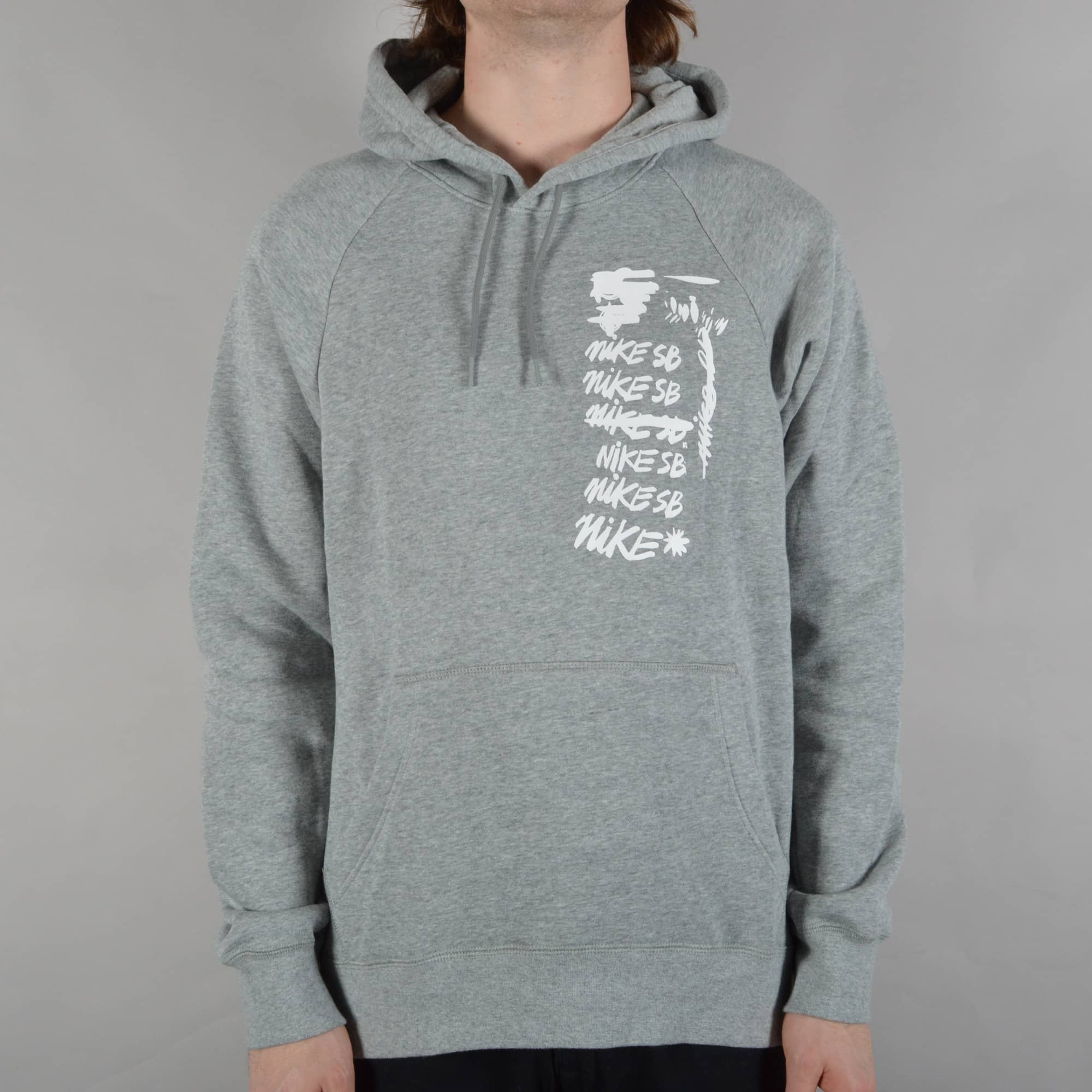 Nike SB Icon Scribble Pullover Hoodie Dark Grey HeatherWhite