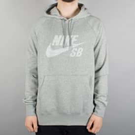 Nike SB Icon Stripe Pullover Hoodie - Heather Grey
