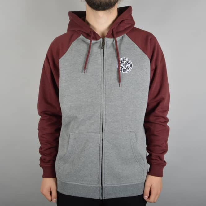 Independent Trucks ITC Cross Zip Hooded Top - Oxblood/Dark Heather