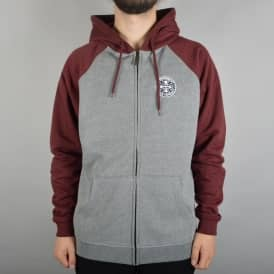 ITC Cross Zip Hooded Top - Oxblood/Dark Heather