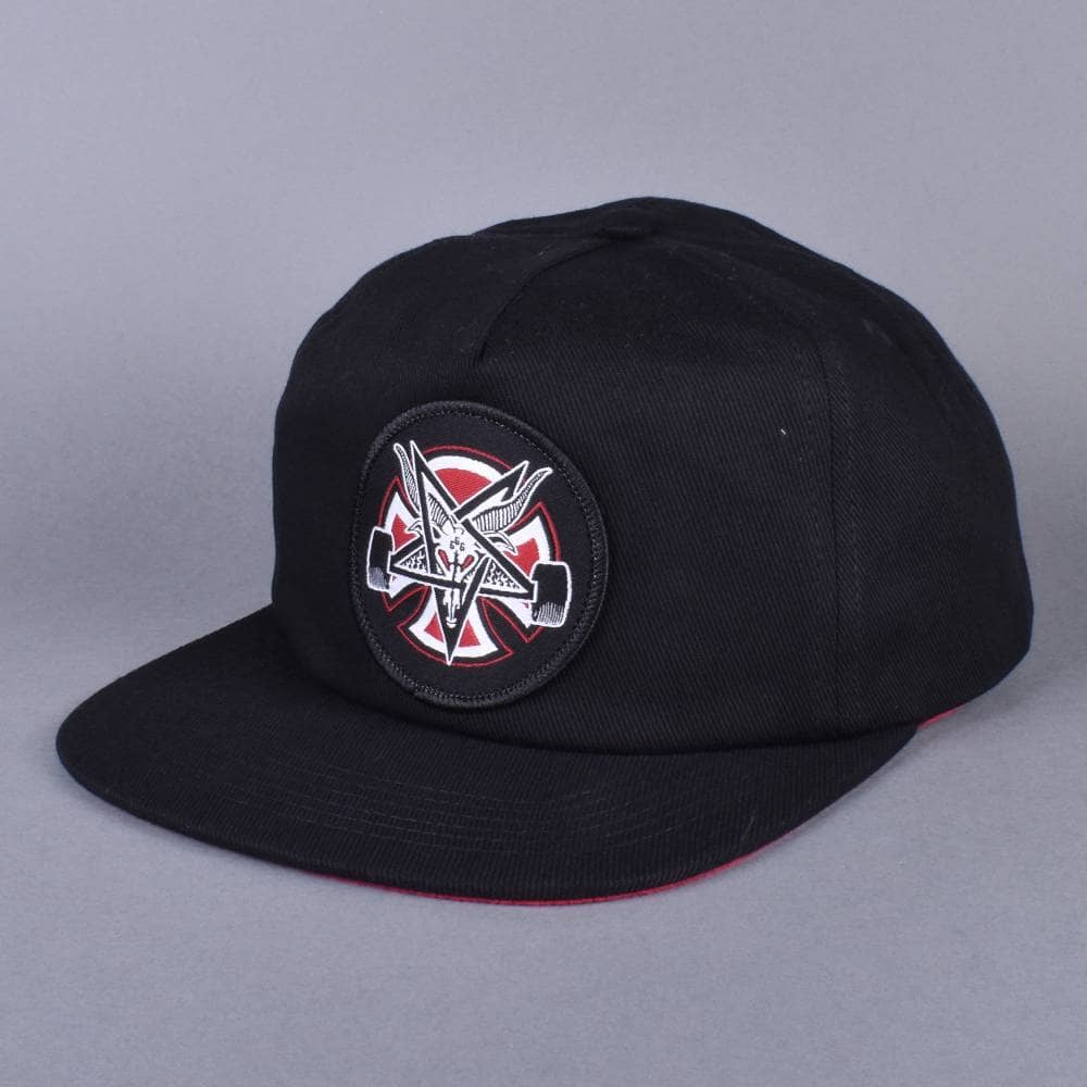 Independent Trucks x Thrasher Pentagram Cross Snapback Cap - Black ... 9c14bbf8a52