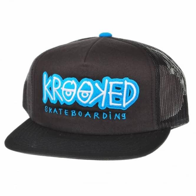 5e9510db2d62b Krooked Skateboards Krooked Bones Trucker Cap Black - Caps from ...