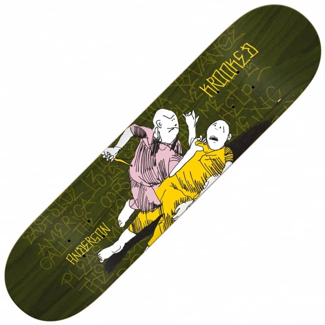 Krooked Skateboards Anderson Street Justice (Green Stain) Skateboard Deck 8.62