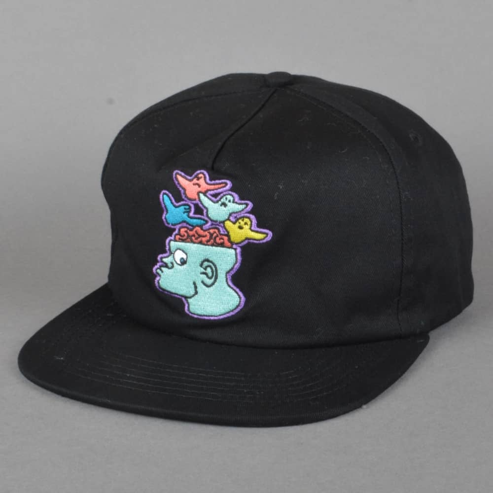 6b0dc729d35 Krooked Skateboards Brain Bird Embroidered Snapback Cap - Black ...