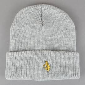 Krooked Skateboards Embroidered Cuff Beanie - Heather Grey