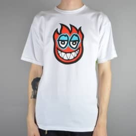 Krooked Skateboards Fire Eyes Skate T-Shirt - White