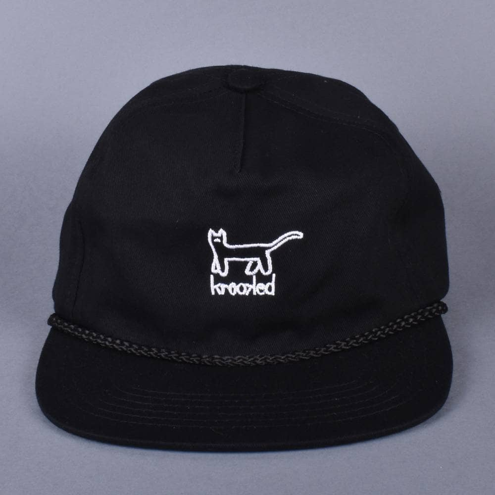 Krooked Skateboards Kat Embroidered Snapback Cap - Black White ... 024535f9704a