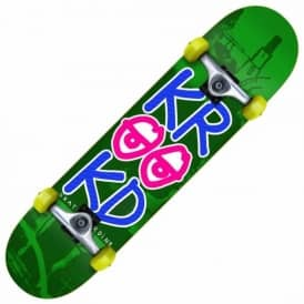 Krooked Stacked Eyes Green Medium Complete Skateboard 7.75