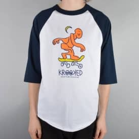 Krooked Skateboards Lunar Lurker 3/4 Sleeve Raglan T-Shirt - White/Navy