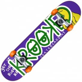 Krooked Skateboards Right Hook Mini Purple Complete Skateboard 7.3""