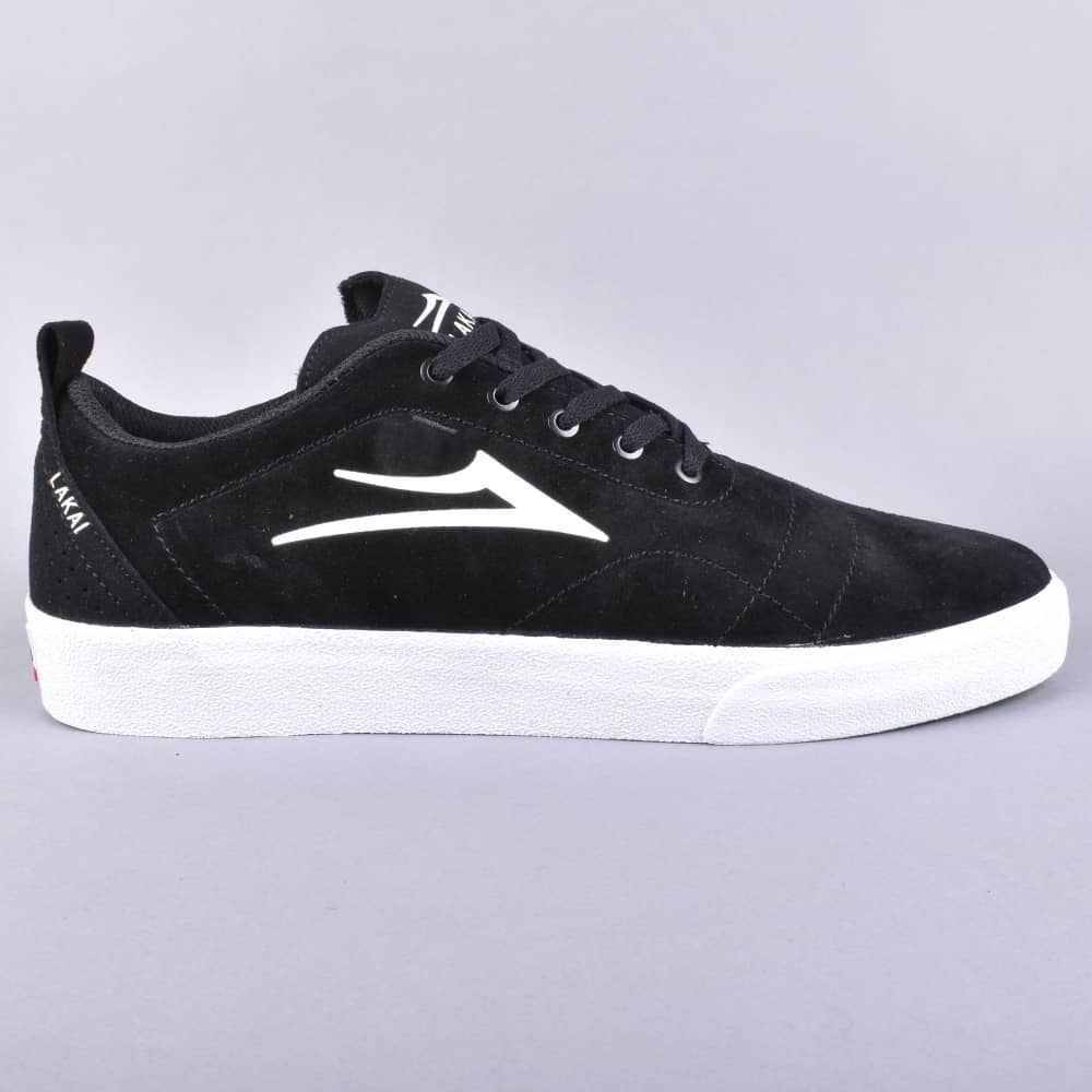 fa7c3a3aaa9 Lakai Bristol Skate Shoes - Black White Suede - SKATE SHOES from ...