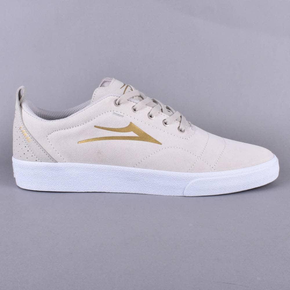 Lakai Bristol Skate Shoes - White/Gold