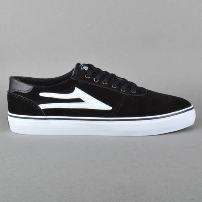 Lakai Manchester Lean Skate Shoes - Black/White Suede