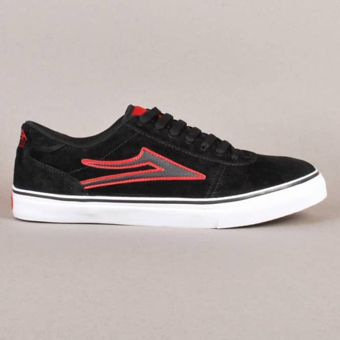 Lakai Manchester Select Skate Shoes - Black/Red Suede