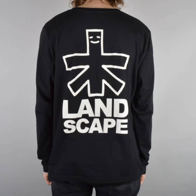 Landscape Skateboards Outline Logo Backprint Long sleeve Skate T-Shirt - Black