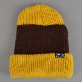 Langley Stripe Beanie - Mustard/Brown
