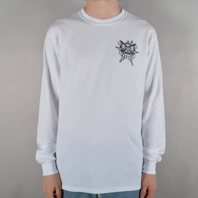 Native Law Chest Longsleeve T-Shirt - White/Black