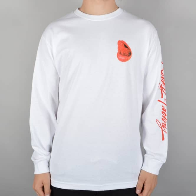 Becky Factory Lips Longsleeve T-Shirt - White