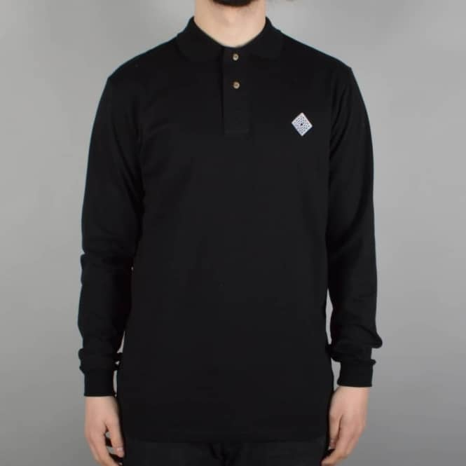 The National Skateboard Co. Logo Long Sleeve Polo Shirt - Black