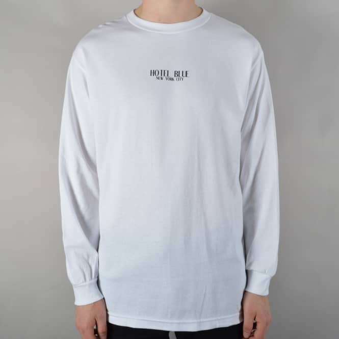 Hotel Blue Skateboards Logo Longsleeve T-Shirt - White