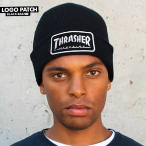 Thrasher Logo Patch Skate Beanie - Black