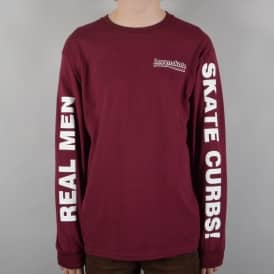 Real Men Longsleeve Skate T-Shirt - Maroon
