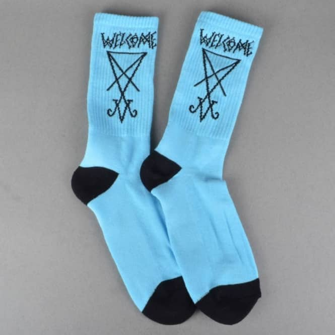 Welcome Skateboards Lui Lui Socks - Light Blue/Black