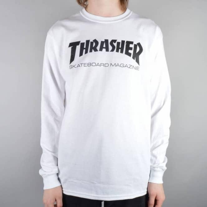 9e1d20f48 Thrasher Mag Logo Long Sleeve Skate T-Shirt - White - SKATE CLOTHING ...