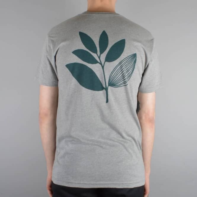 Magenta Skateboards Classic Plant Skate T-Shirt - Heather Grey/Pine Green