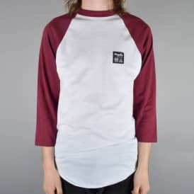 Magenta Skateboards Label 3/4 Sleeve Raglan - White/Burgundy