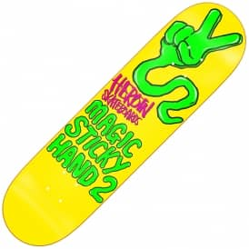 Magic Sticky Hand 2 Yellow Skateboard Deck 8.25