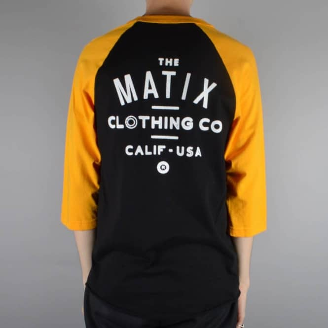 Matix Clothing Team Baseball 3/4 Sleeve Raglan - Black/Gold