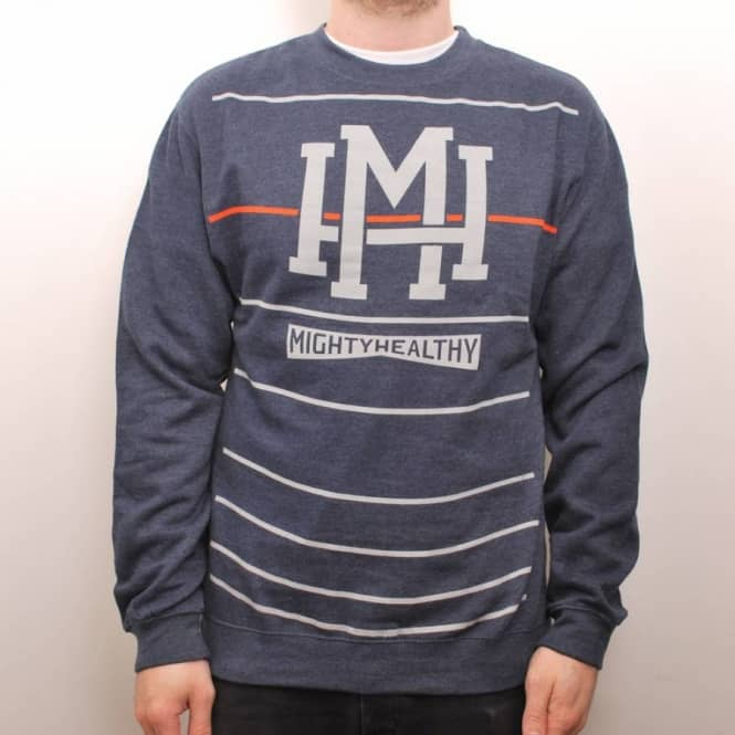 Mighty Healthy Mighty Healthy Stripes Crew Navy