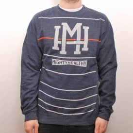 Mighty Healthy Stripes Crew Navy