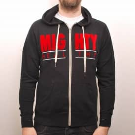 Mighty Healthy Throwback Zip Hooded Top Black