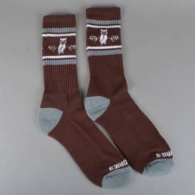 Moluch Socks - Burgundy/Charcoal/White