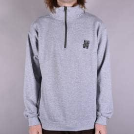 N Logo Embroidered 1/4 Zip Top - Grey/Black