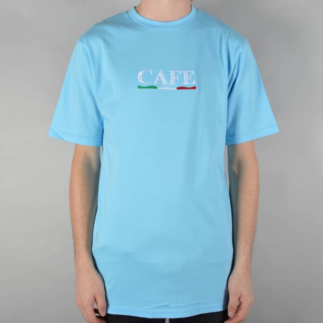Skateboard Cafe Naples Embroidered Skate T-Shirt - Blue