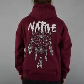 Native Dreamcatcher Pullover Hoodie - Burgundy