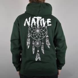 Native Dreamcatcher Pulover Hoodie - Forest Green