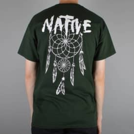 Native Dreamcatcher Skate T-Shirt - Forest Green