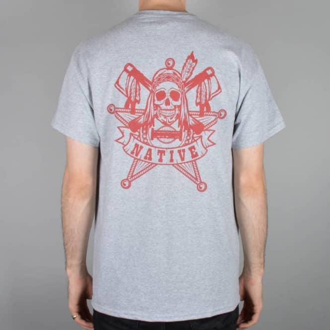 Native Law Skate T-Shirt - Heather Grey/Red